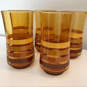 Vintage 1970s Ombré Striped Juice Glasses